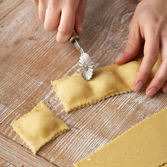 Cut each ravioli from the strip using the pastry wheel (or sharp knife). And you're done! At this point, you can either freeze them, tightly wrapped, or boil in salted water for 3 to 4 minutes, or until tender. See the next slide for our quick, shortcut ravioli tip.
