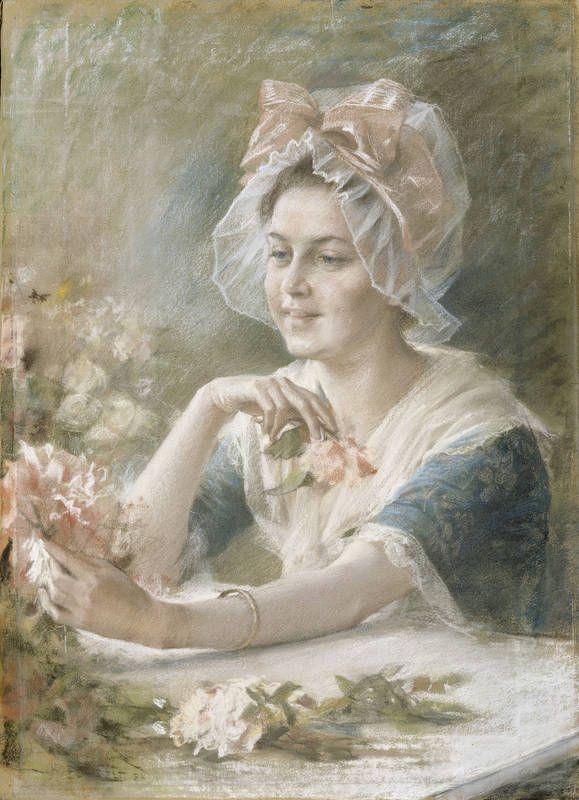 """Edelfelt, Albert: """"Flower Girl"""" 1884, -pastel - """"Kukkaistyttö"""" - Ateneum"""