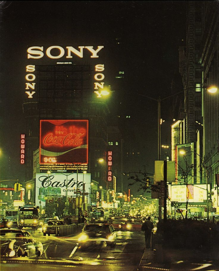 """science70: """" Night view of Times Square, New York City, 1976. Photo: Dennis Hallinan """""""