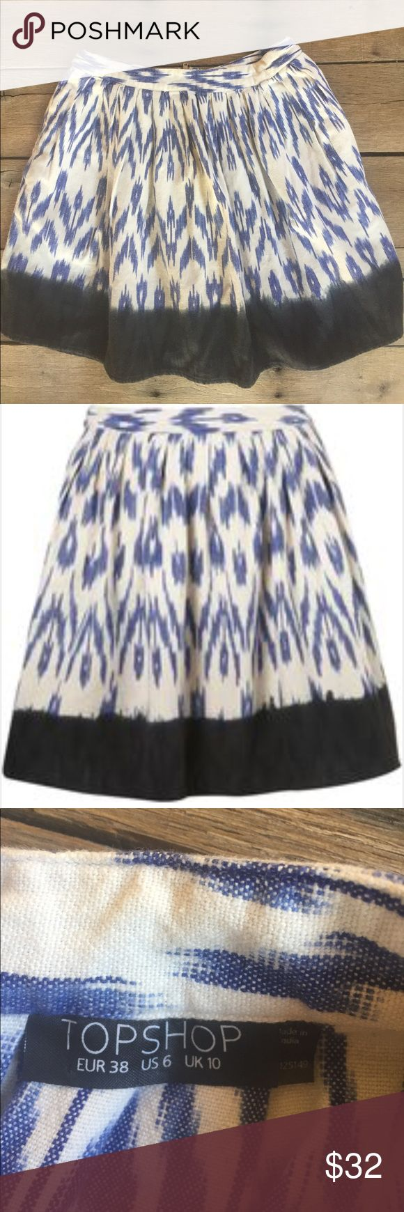 TOPSHOP Aztec Dip Dye Skirt Blue, black and offshore. Measures 16.5 inches waist to hem. Topshop Skirts Mini