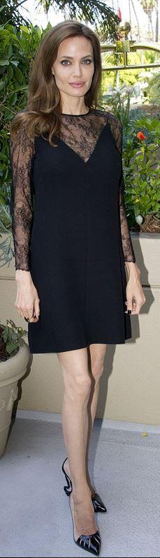 Angelina Jolie: Dress – Valentino  Shoes – Christian Louboutin