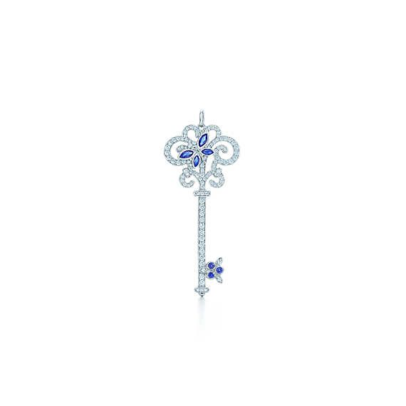 Tiffany Enchant® dragonfly key pendant in platinum with diamonds and sapphires.