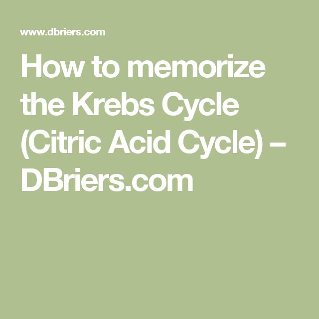 How to memorize the Krebs Cycle (Citric Acid Cycle) – DBriers.com