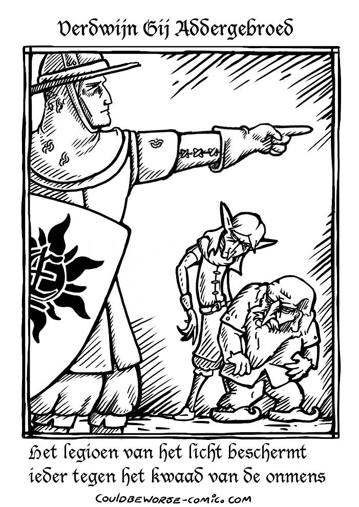 Propaganda in woodblock style, made for a human-supremacist larp group that hates non humans like elves and dwarfs. (terraX)