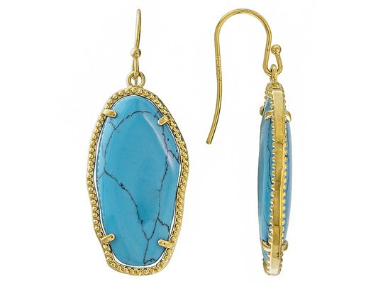 Moda Di Pietra(Tm) Fancy Shaped Tumbled Blue Magnesite 18k Gold Over B