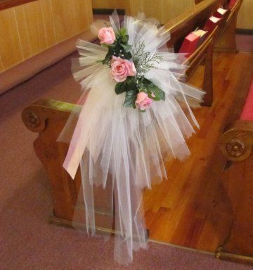 276 best wedding pew decor images on pinterest church tulle pew bows church wedding decorations junglespirit Images