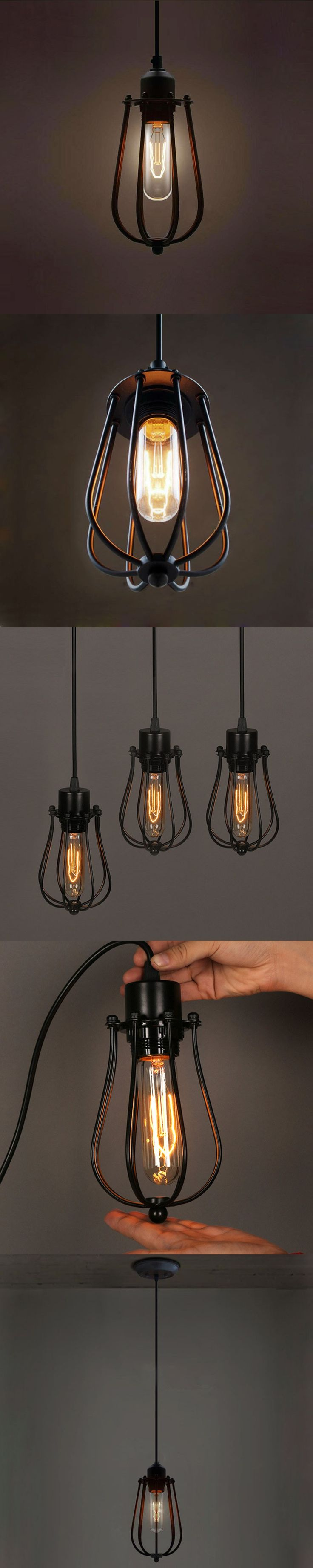 Warehouse Pendant Lights American Country Lamps Vintage Lighting For Restaurant Bedroom Home Decoration Black Bar