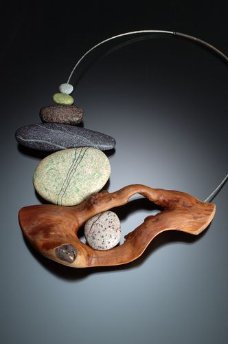 polymer clay faux stones and real wood neckpiece by Kathleen Dustin... incredible work