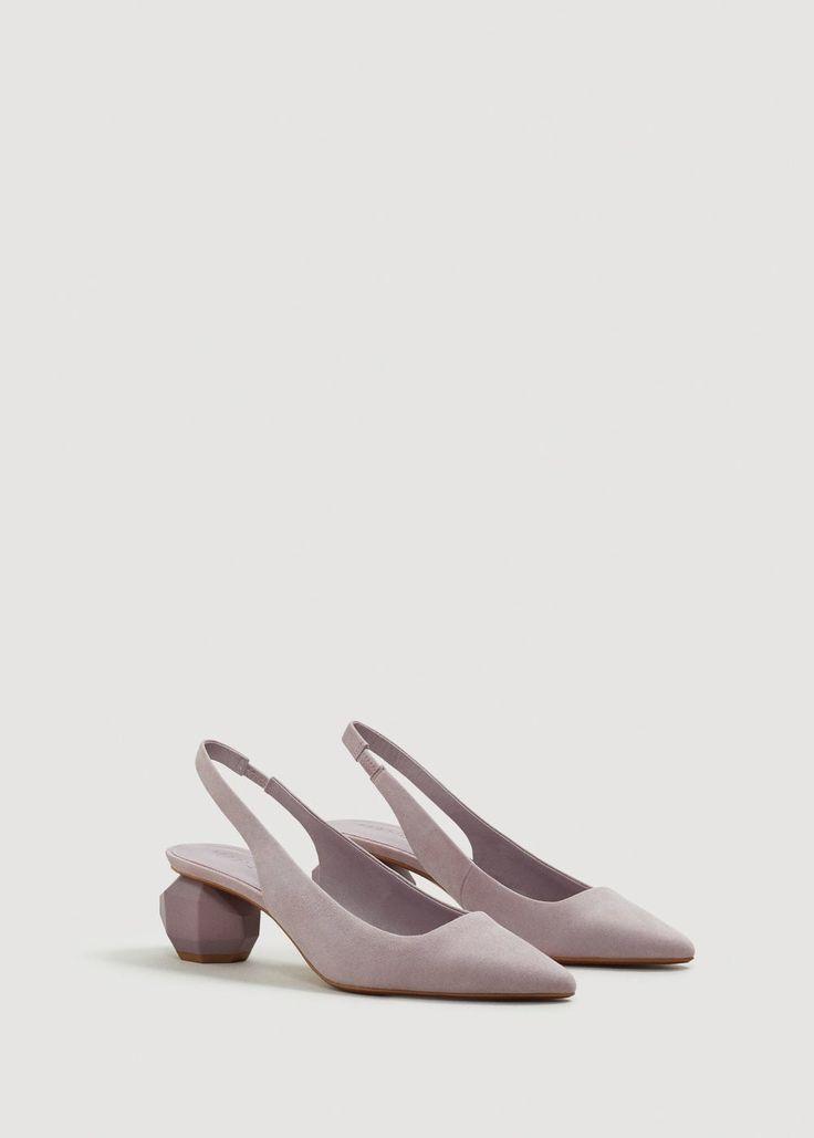 Geometric heel suede shoes - Women | MANGO USA