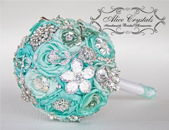 small Brooch bouquet mint Jeweled Bouquet. by AliceCrystals, $40.00