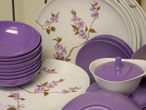 Purple Texas ware Vintage Melmac Set by daisytoad on Etsy, $57.00