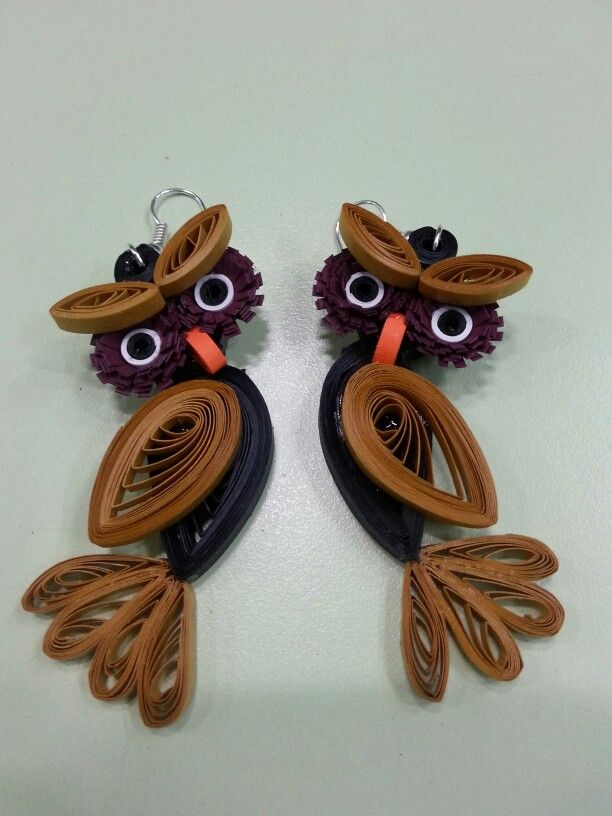 Owl Paper Quilling Earrings