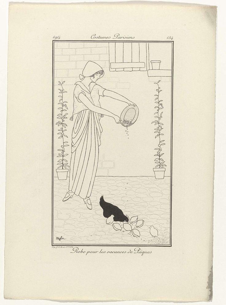 Anonymous | Journal des Dames et des Modes, Costumes Parisiens,  1914, No. 154 : Robe pour les vacances..., Anonymous, 1914 | Vrouw in een jurk met korte mouwen en lange geplooide rok. Zij is bezig een kip met kuikens te voeren. Volgens het onderschrift is dit een jurk voor tijdens de paasvakantie. Proefdruk van een prent uit het modetijdschrift Journal des Dames et des Modes (1912-1914).