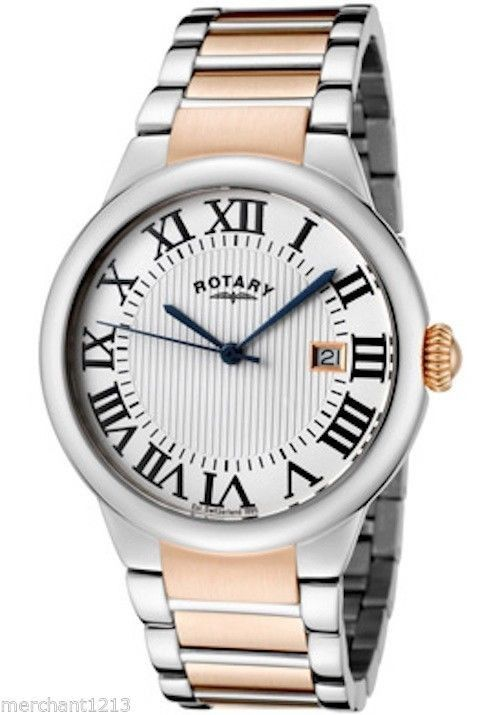 Rotary Men's Watch GB02528-01 Two-Tone Stainless Steel Light Silver Textured Dial