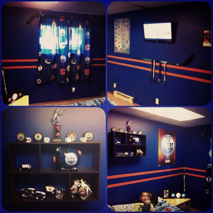Hockey Themed Bedroom. Oilers. Boys Bedroom