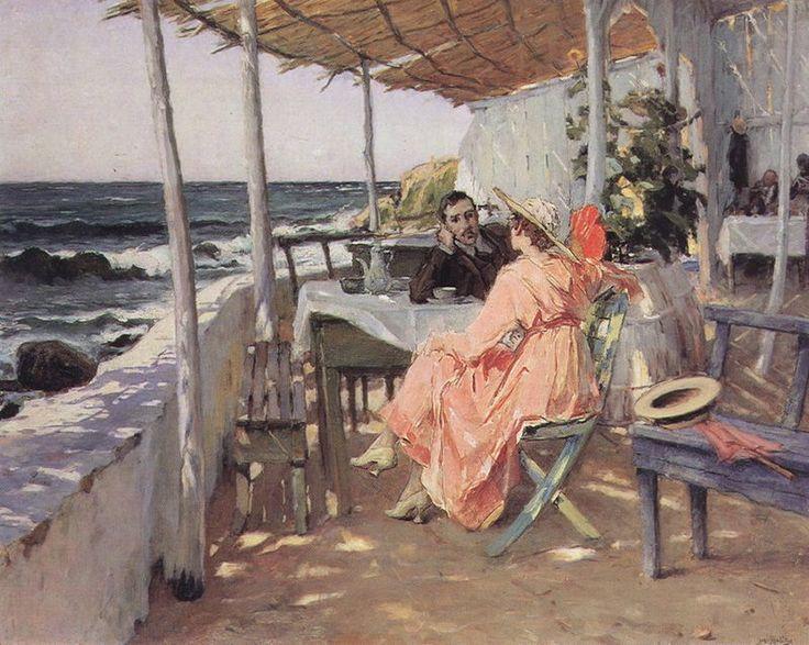 José Malhoa, 'Praia das Maçãs', 1918, óleo sobre tabla, 69 x 87 cm. Museu do Chiado, Lisboa. Portugal / arte, pintura, mar, sea, beach, art