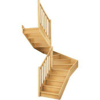 Escalier quart tournant haut et bas gauche Soft wood structure bois marche bois | Leroy Merlin