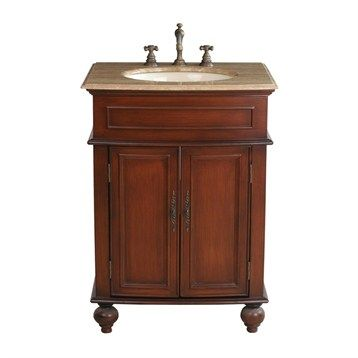 "Stufurhome 26"" Prince Single Sink Vanity with Travertine Marble Top - Cherry Red"