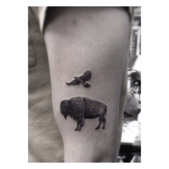 bison and eagle by Dr.Woo | tattoo artist Los Angeles - This guys work is incredible