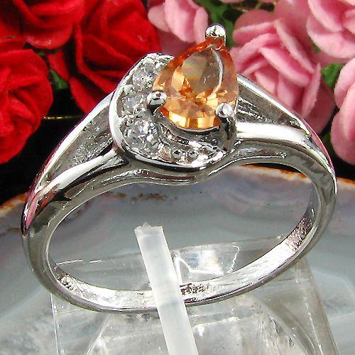Inel placat cu aur alb 18k cu safir portocaliu