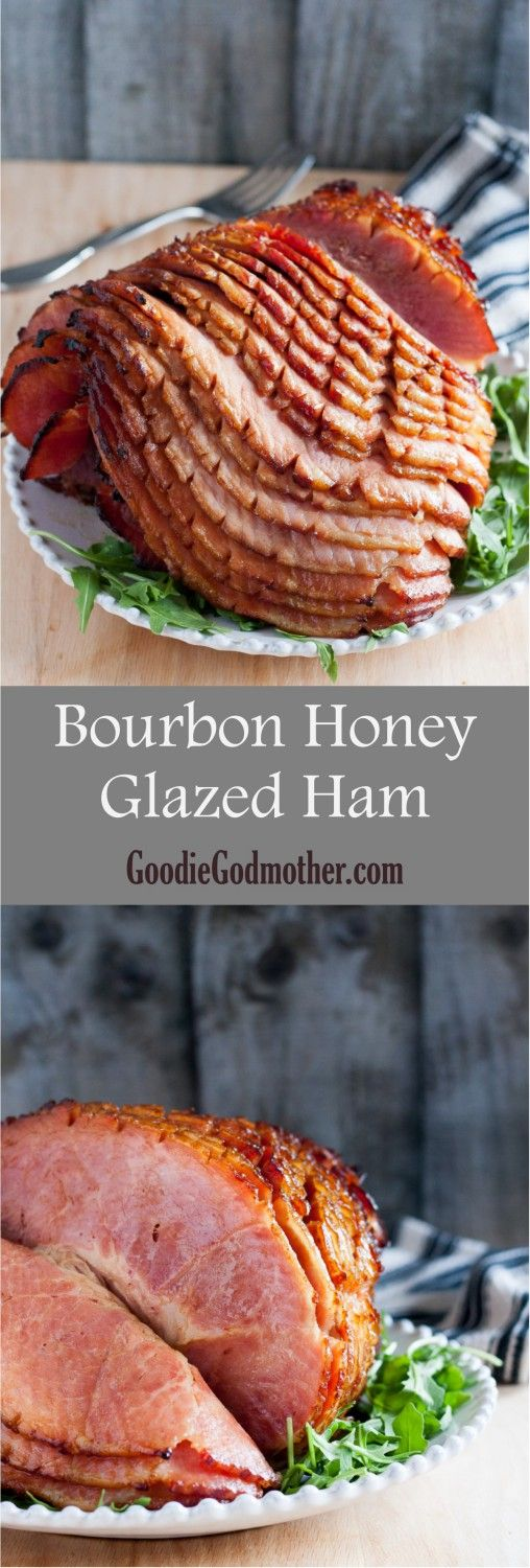 Make your baked ham extra special with a homemade glaze. It takes just 5 minutes to make the glaze for this bourbon honey glazed ham! * Recipe on GoodieGodmother.com