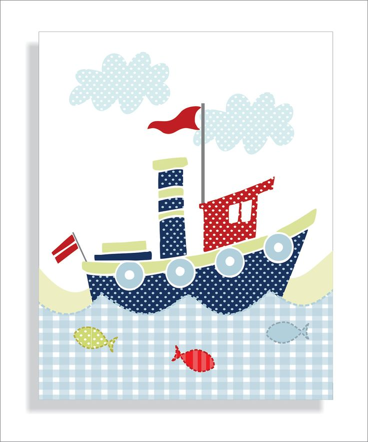 Childrens Art Prints, Nursery wall art, Baby nursery decor, Whale, Lighthouse and Tugboat - Set of three 5x7. $20.00, via Etsy.