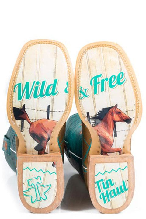 Tin Haul Barbed Wire with Wild and Free Sole Cowboy Boots - HeadWest Outfitters