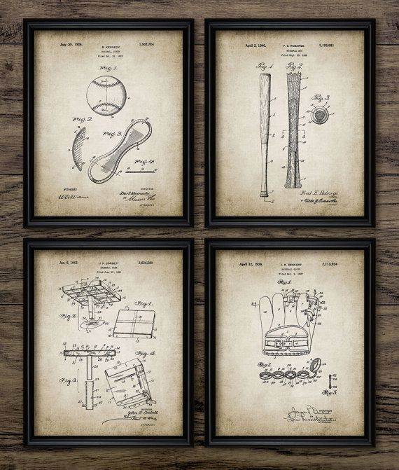 Vintage Baseball Patent Print - Baseball Sport - Boys Room Gift Home Decor - Mancave Wall Art Set Of 4 Prints #415 - INSTANT DOWNLOAD