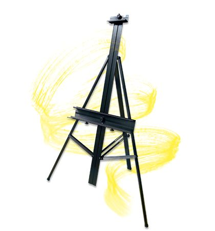 Studio Designs Premier Floor Easel || You can easily accommodate canvases up to 48 high with this light-weight yet strong aluminum easel. Designed for tilt and height adjustability, it comes with a built-in palette holder and can be folded away for easy transportation and storage.