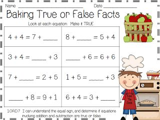 Monahan Monkey Madness: Baking True and False Math Facts - Created to help with true/false equations and balancing equations.