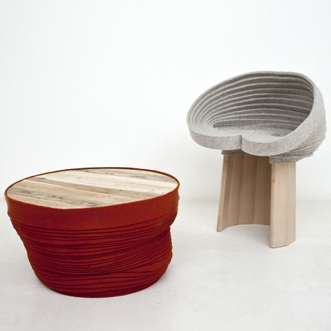 London designers Raw Edges present furniture made from 326 metres of coiled felt at Fat Galerie in Paris.