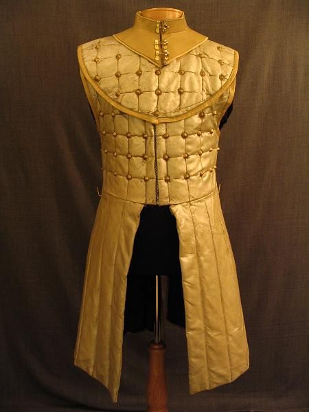 Men's Medieval Gambeson, tan beige pearlized pleather, studded. Great looking, would be cool to make elf or dwarf version.