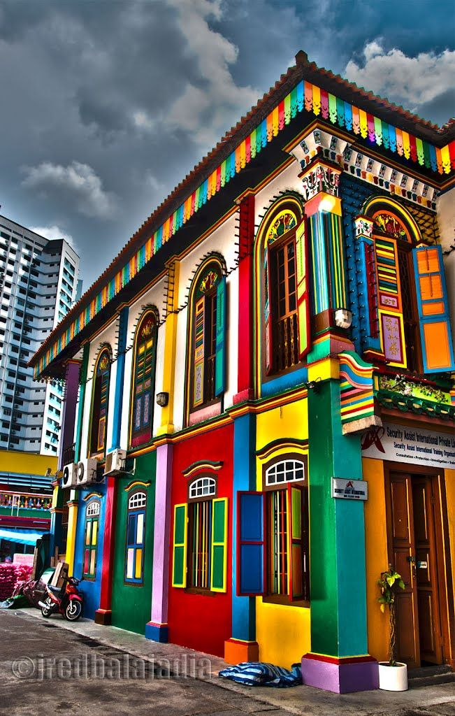 Colorful Buildings in Little India Singapore