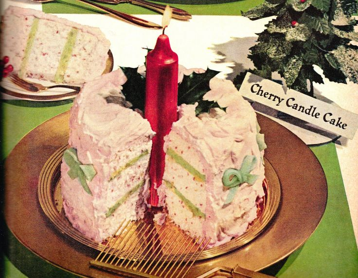 Cherry candle cake. Looks like Christmas! Light the candle and whisk this beauty to the table. When you cut the airy cake, folks will see the red flakes of cherry and the green layers of pineapple filling. http://www.retrorealtygroup.com