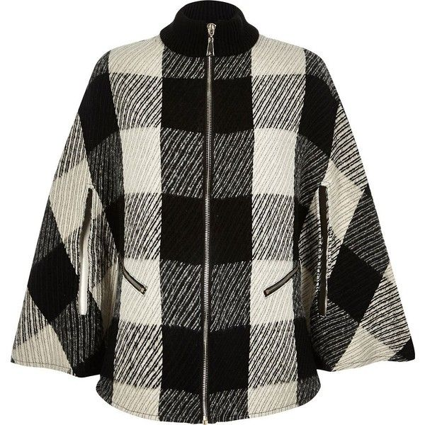 River Island Black check zip-up cape (37.125 HUF) ❤ liked on Polyvore featuring outerwear, coats, jackets, capes, coats & jackets, accessories, black, capes / ponchos, women and black wool poncho
