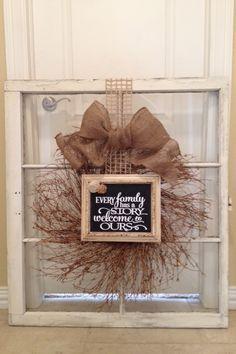 Wreath & frame on old window