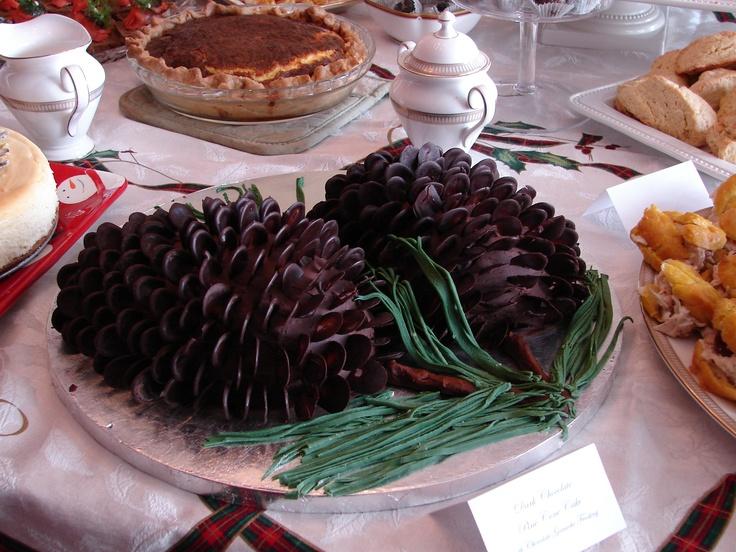 Dark chocolate pine cone cake with dark chocolate ganache frosting ...