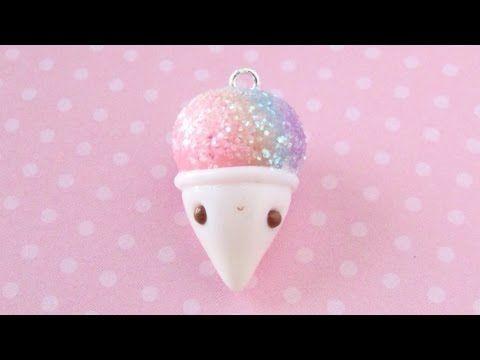 Glitter Snow Cone polymer clay kawaii charm tutorial