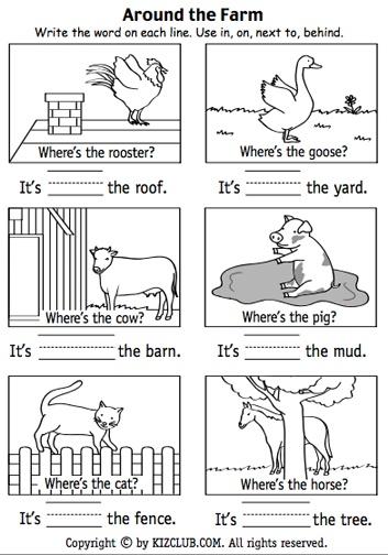 Preposition Activities on Next Kindergarten Positional Words Worksheet
