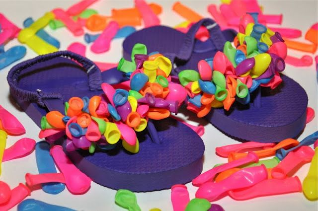 Super cute DIY water balloon flip flops--too complicated for kids, but do-able for teens.
