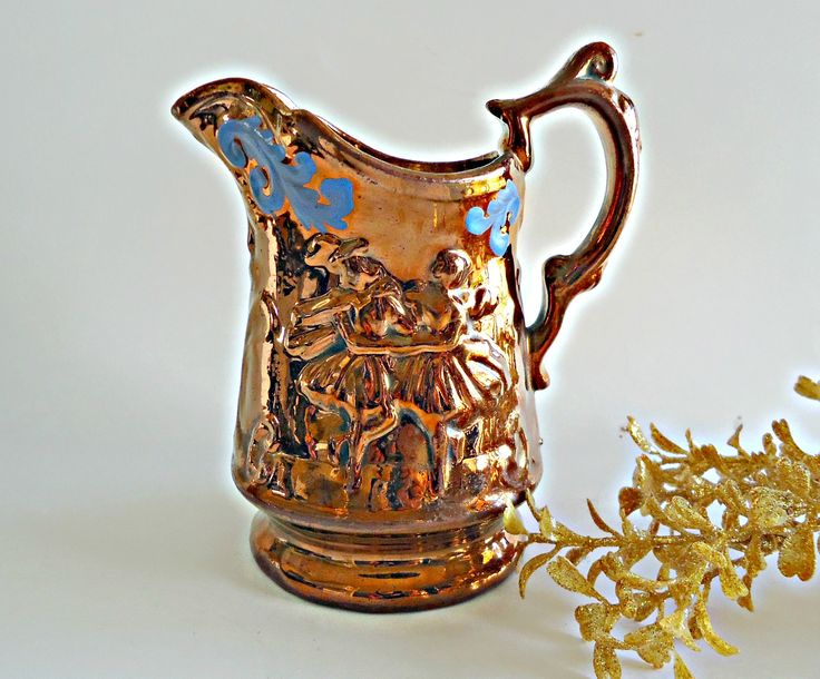 Vintage Copper Lusterware Milk Pitcher Creamer Blue Accentuate Lusterware by TreasureCoveAlly on Etsy