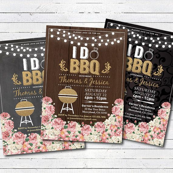 I do BBQ invitation. Rustic wood floral BBQ couple's shower Engagement party…