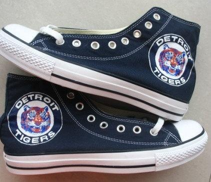 Custom Converse Detroit Tigers Baseball Team Hand Painted On Convlerse Shoes. $89.99, via Etsy.