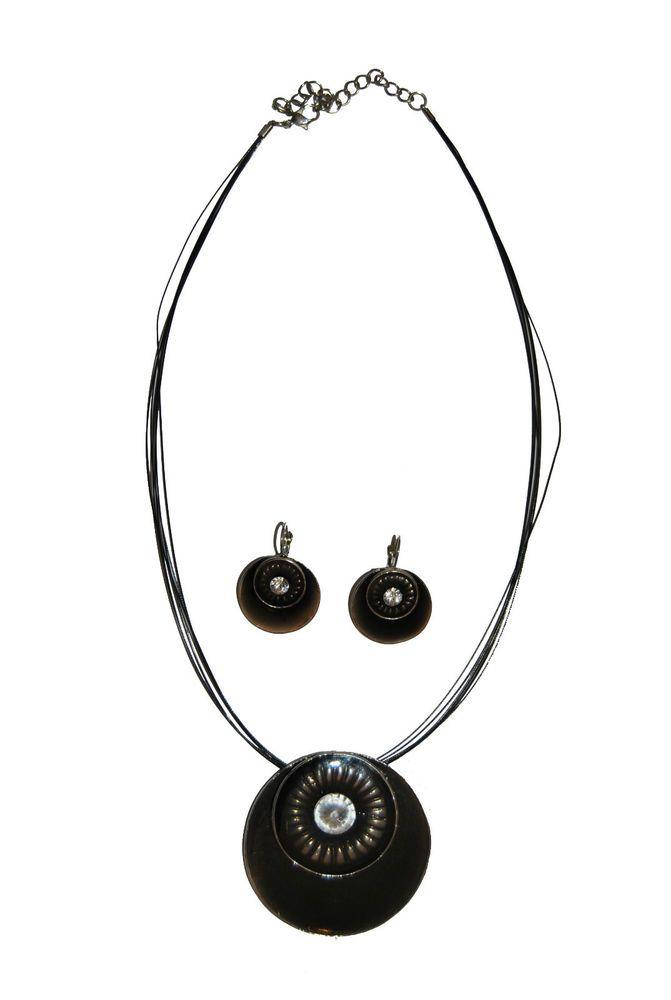 Collana e orecchini con zircone centrale biogiotteria