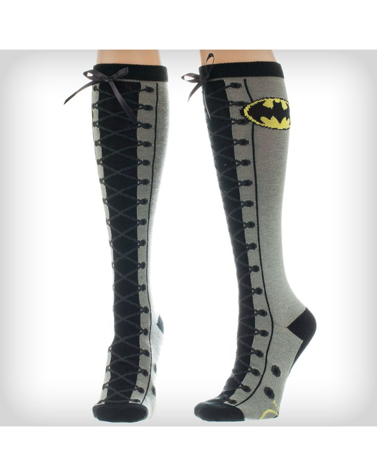 Party points to ME! I just found the Batgirl Lace up Knee High Socks from Spencer's. Visit their mobile website to get this item and more like it.