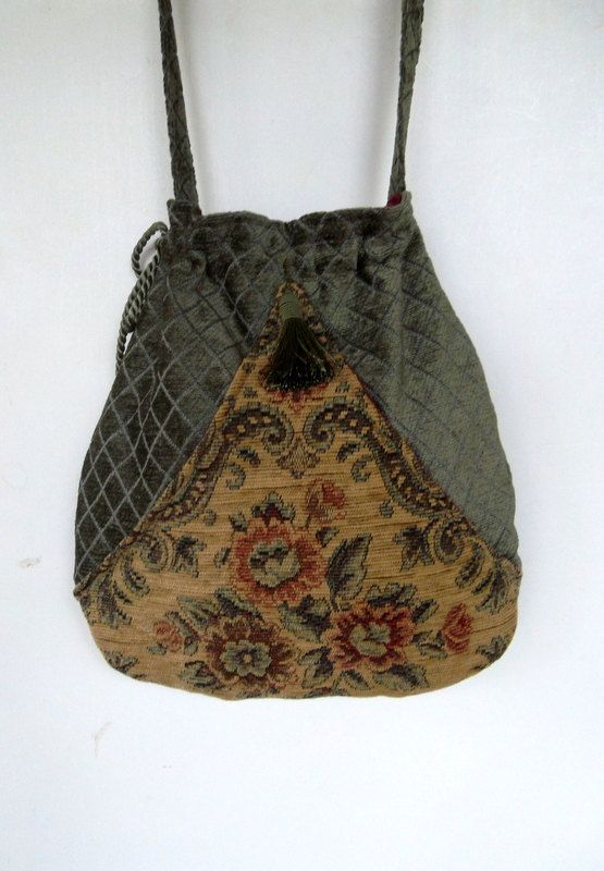 Boho Sage Green Floral Bag Pocket Boho Bag Floral Tapestry Drawstring Bag Bohemian Bag Crossbody Purse