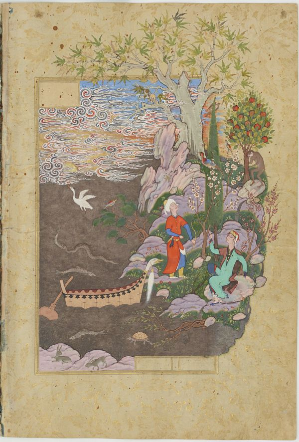 Folio from a Haft awrang (Seven thrones) by Jami (d.1492); verso: Salaman and Absal repose on the happy isle; recto: text  TYPE Manuscript folio MAKER(S) Author: Jami (died 1492) HISTORICAL PERIOD(S) Safavid period, 1556-1565 SCHOOL Khurasan School MEDIUM Opaque watercolor, ink and gold on paper DIMENSION(S) H x W: 34.2 x 23.2 cm (13 7/16 x 9 1/8 in) GEOGRAPHY Iran