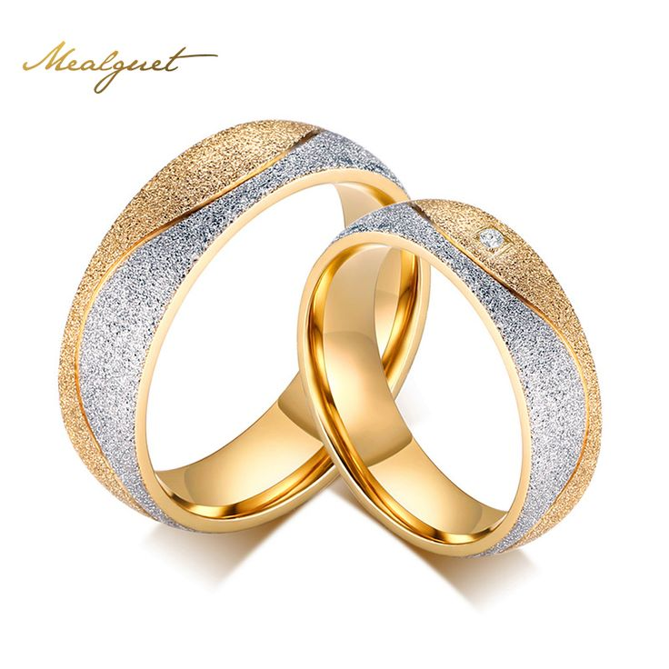 Meaeguet Engagement Ring For Men Women Wedding Rings Women Jewelry Gold Color Stainless Steel CZ Wedding Rings
