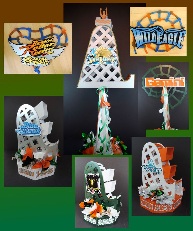 Roller coaster amusement park ride party centerpieces. Some large and elevated and some 3D and sitting low on the table. Perfect for a Wild Ride theme.
