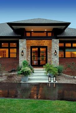 contemporary prairie style | Prairie style home - contemporary - entry - detroit - by VanBrouck ...